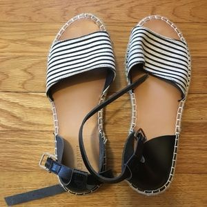 Old Navy Striped Ankle Strap Flats